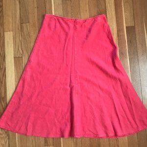 EILEEN FISHER Coral Linen A-Line Skirt Small